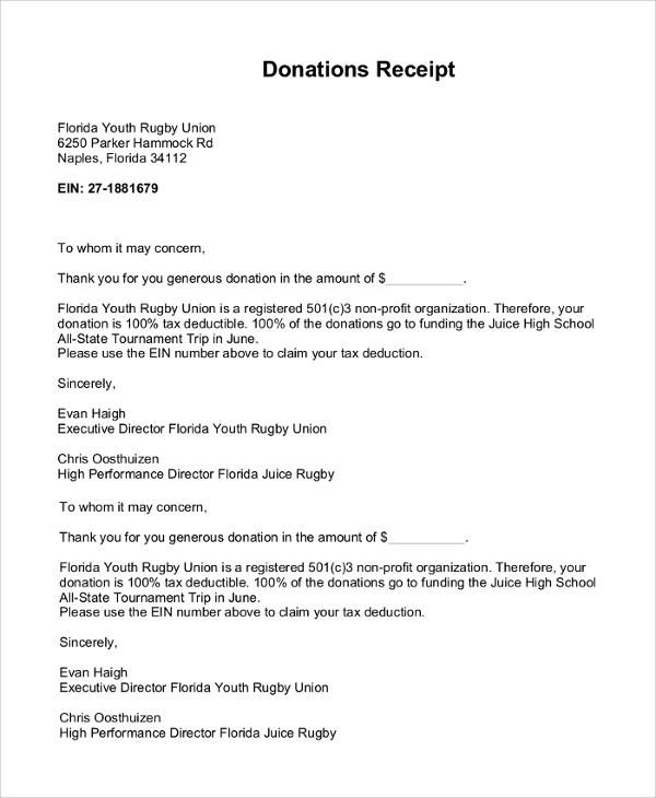 donations receipt letter