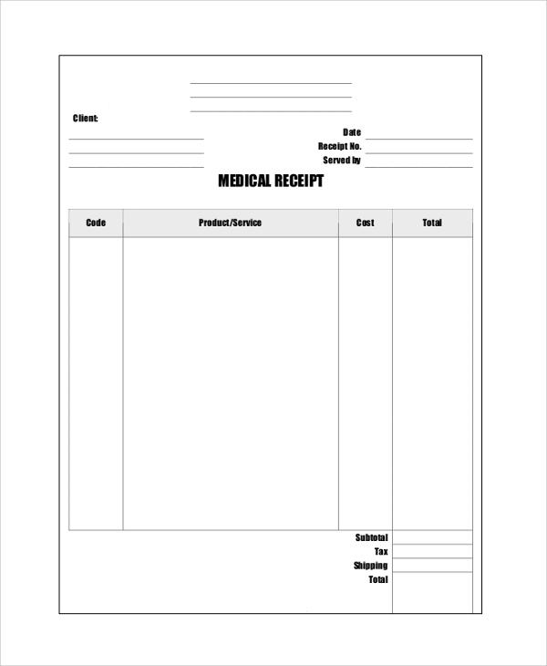 sample medical bill receipt format