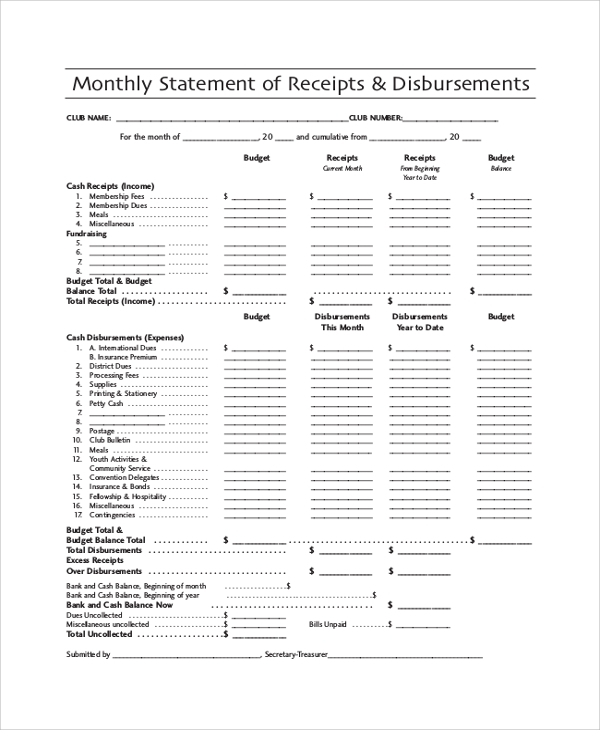 monthly statement of receipts disbursements