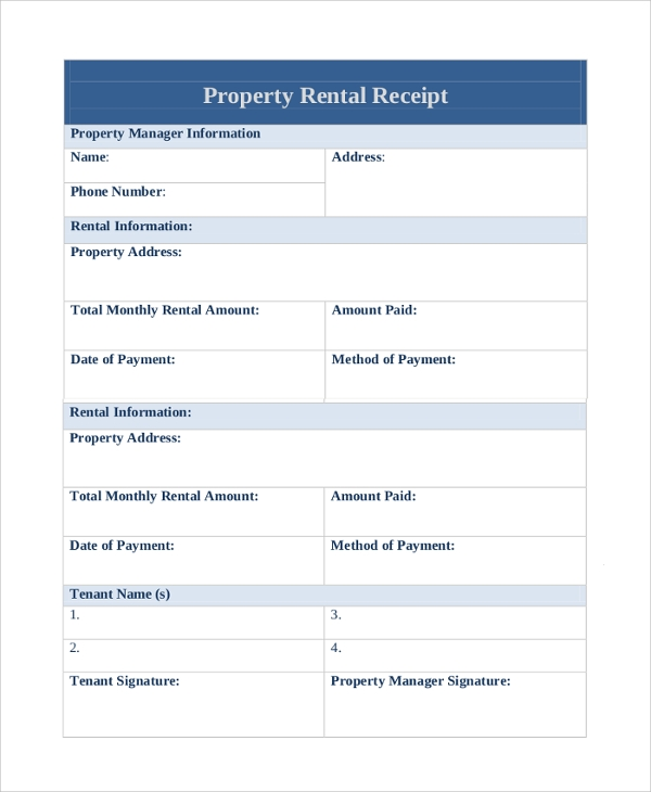 property monthly rental receipt