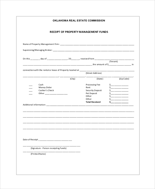 receipt of property management funds