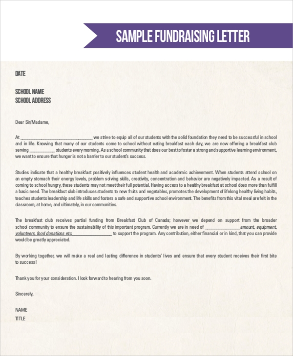 donation letter for fundraisers