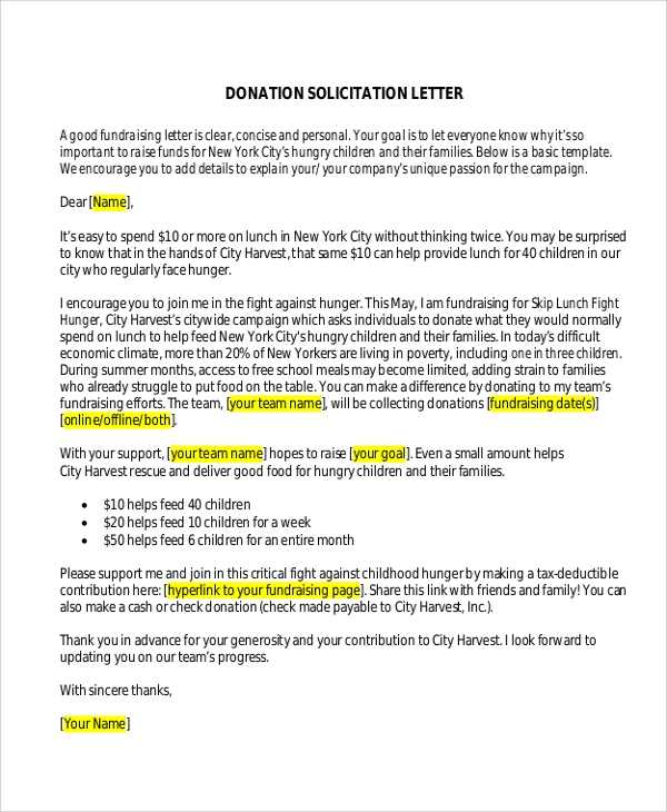 donation solicitation letter