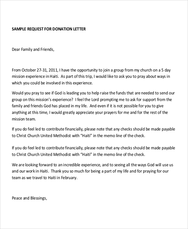Letter Of Request For Church Donation