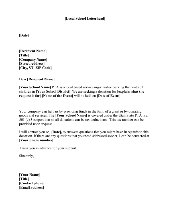 donation request letter template for schools sample donation letter 10 examples in word pdf 24869 | Sample Donation Request Letter For School