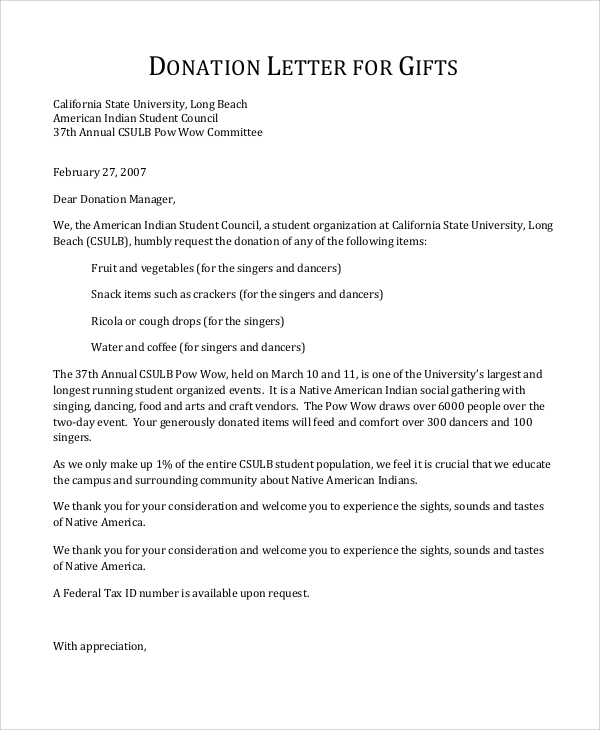sample donation letter for gifts