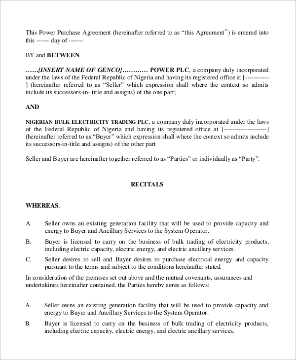 draft bulk power purchase agreement