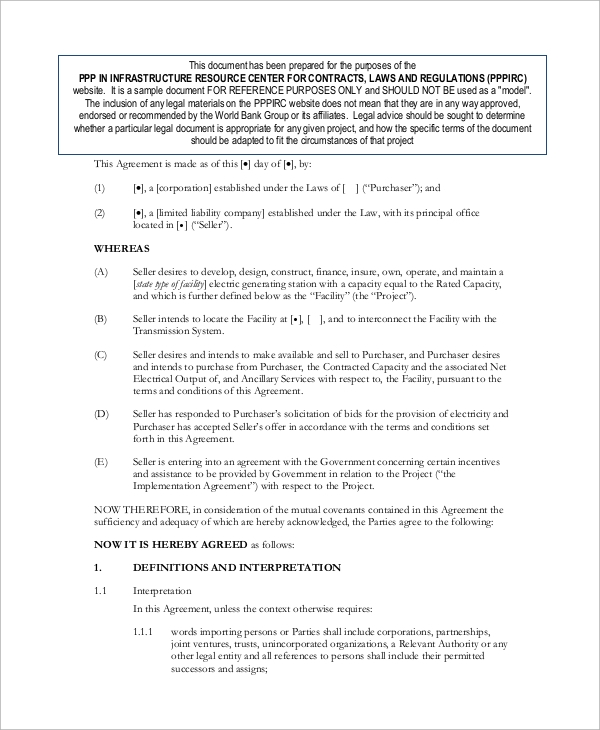 Sample Power Purchase Agreement   Examples In Word Pdf