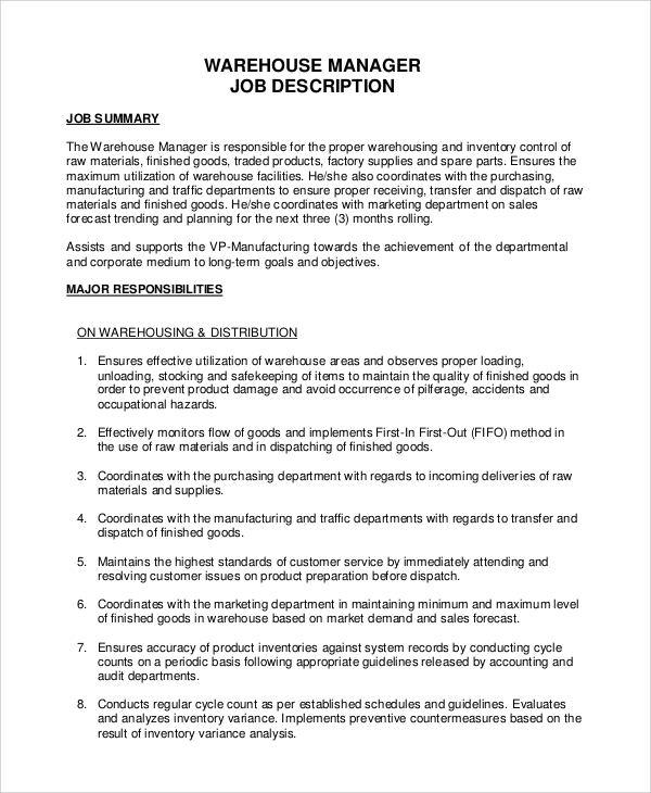 Sample Warehouse Job Description   Examples In Pdf Word