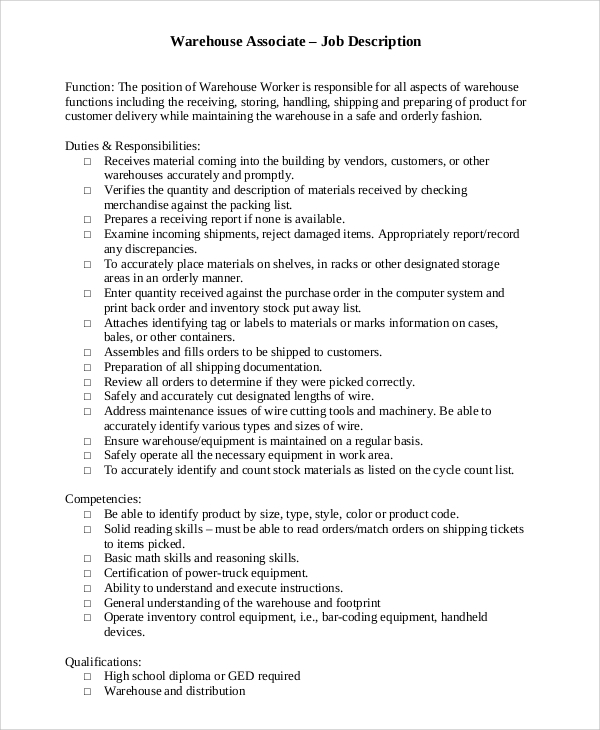Sample Warehouse Job Description 10 Examples In Pdf Word