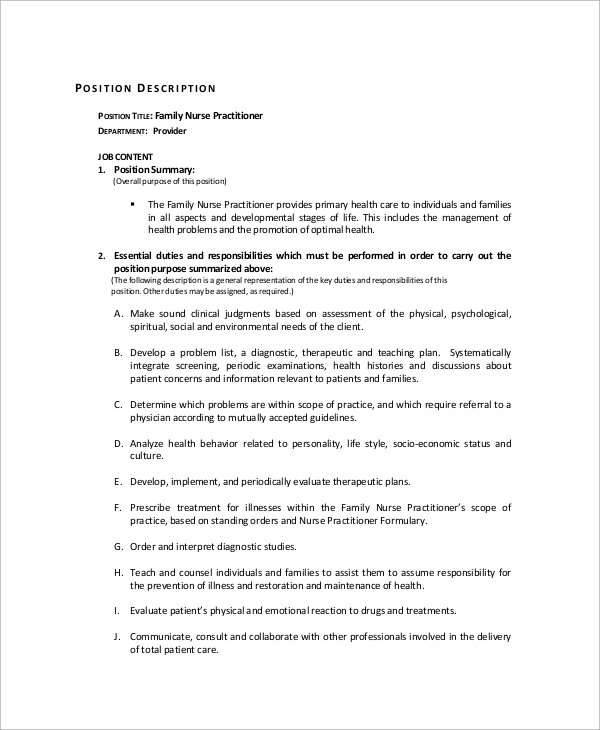 Sample Nurse Job Description - 10+ Examples In Word, Pdf