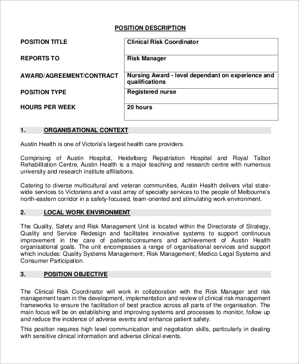 Sample Nurse Job Description 10 Examples in Word PDF – Registered Nurse Job Description