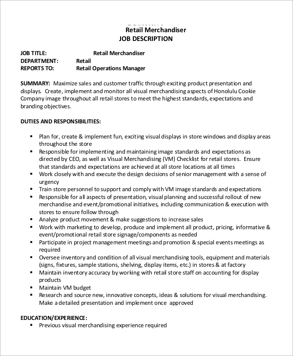 free 10  sample merchandiser job description templates in