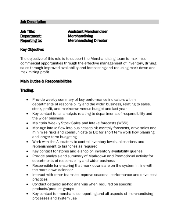 Merchandising Manager Job Description For Resume