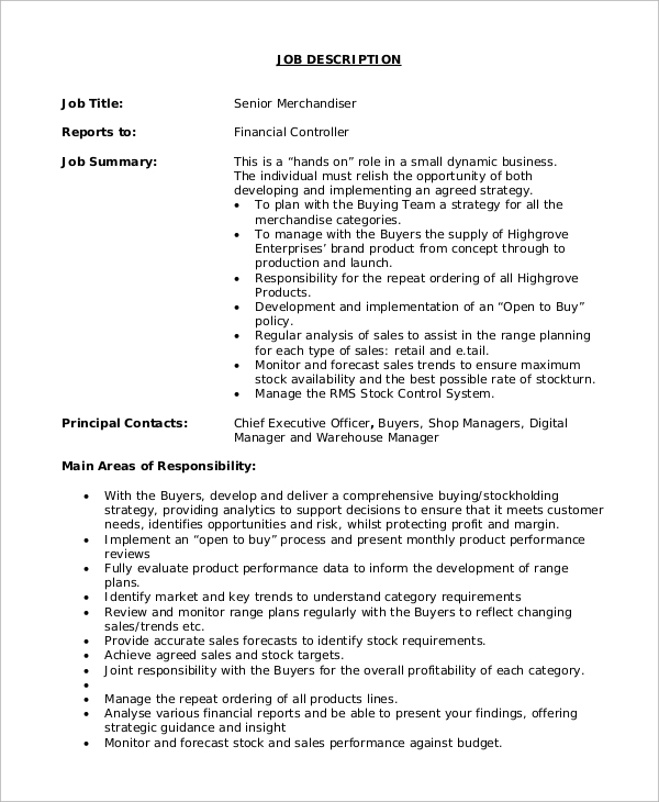 Sample Merchandiser Job Description 10 Examples in Word PDF – Merchandiser Job Description