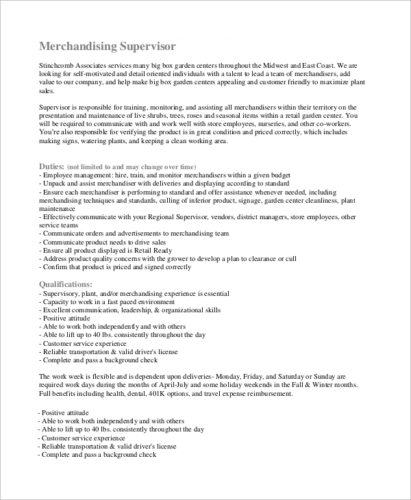merchandising supervisor job description - Job Description For Merchandiser