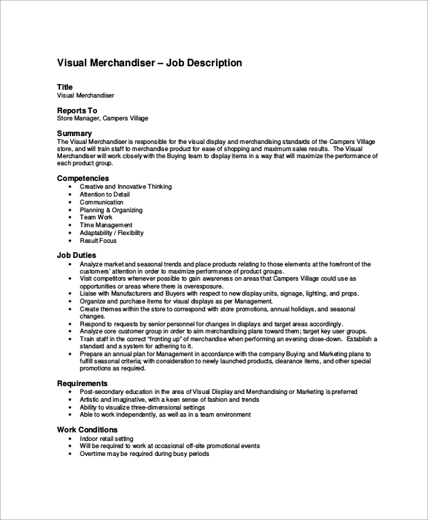 visual merchandiser job description - Job Description For Merchandiser
