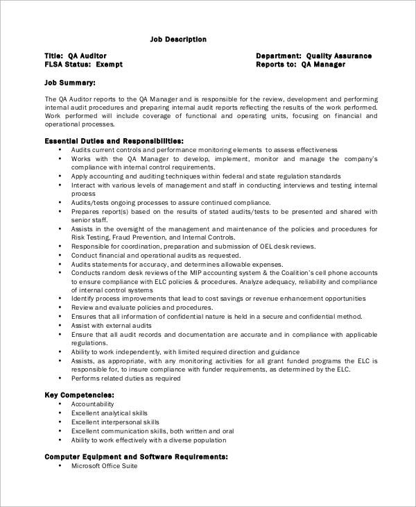 Quality Assurance Auditor Job Description Sample