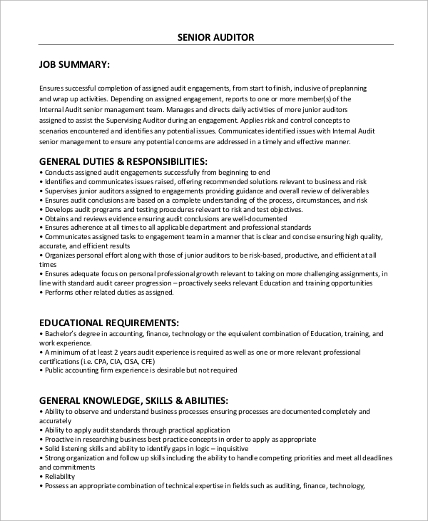 senior auditor job description