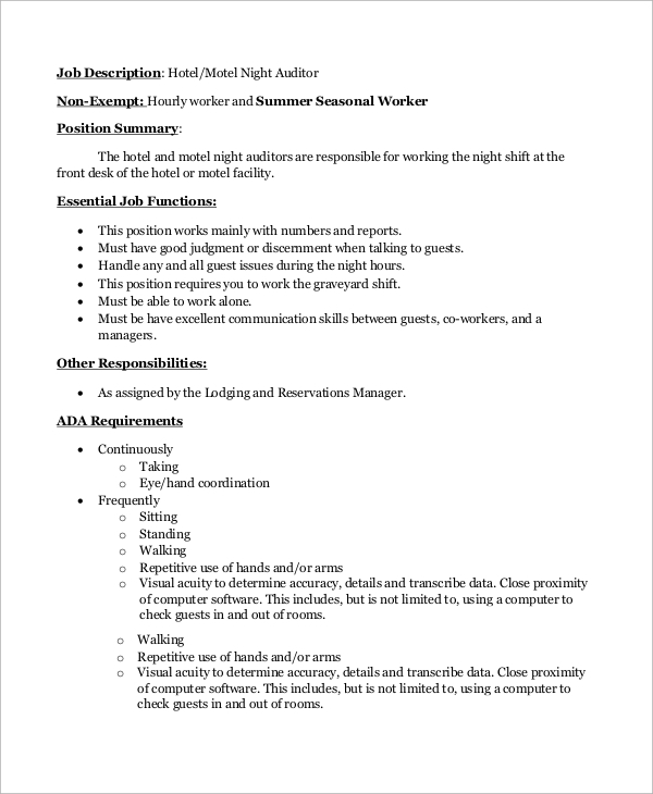 Sample Auditor Job Description   Examples In Word Pdf