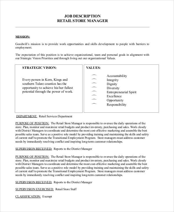 Retail Job Description Retail Salesperson Job Analysis Report