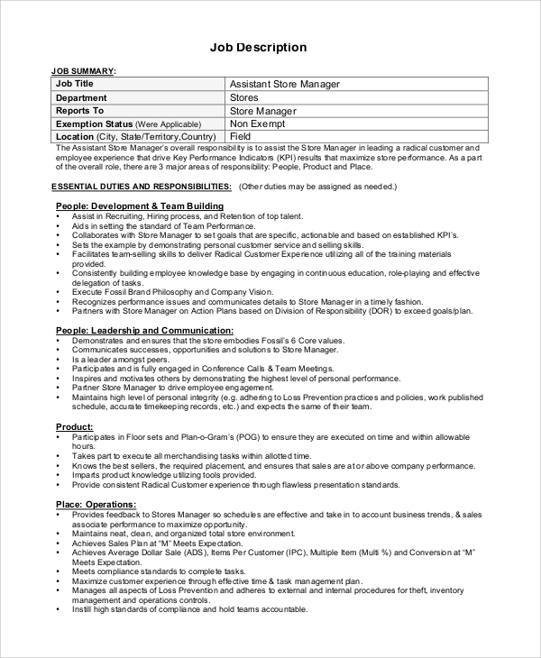 Sample Store Manager Job Description   Examples In Pdf Word