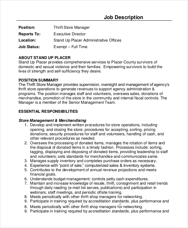 store manager resume description cover letter for retail store