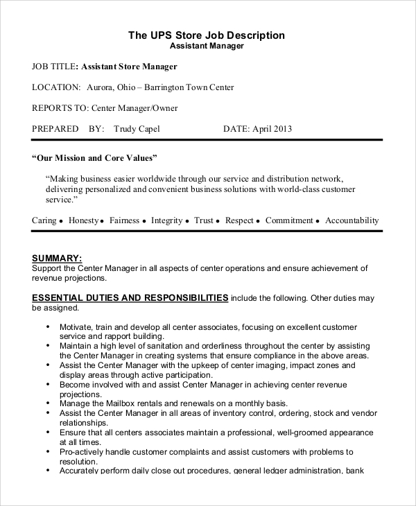 Sample Store Manager Job Description 10 Examples In Pdf