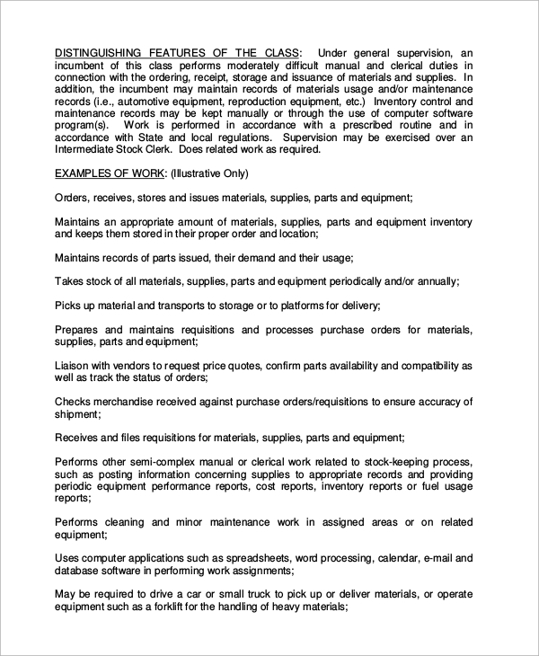 Stock Clerk Job Description Inventory Job Description Sample Resume