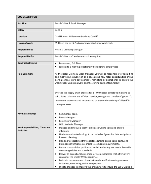 Sample Stocker Job Description - 8+ Examples In Pdf