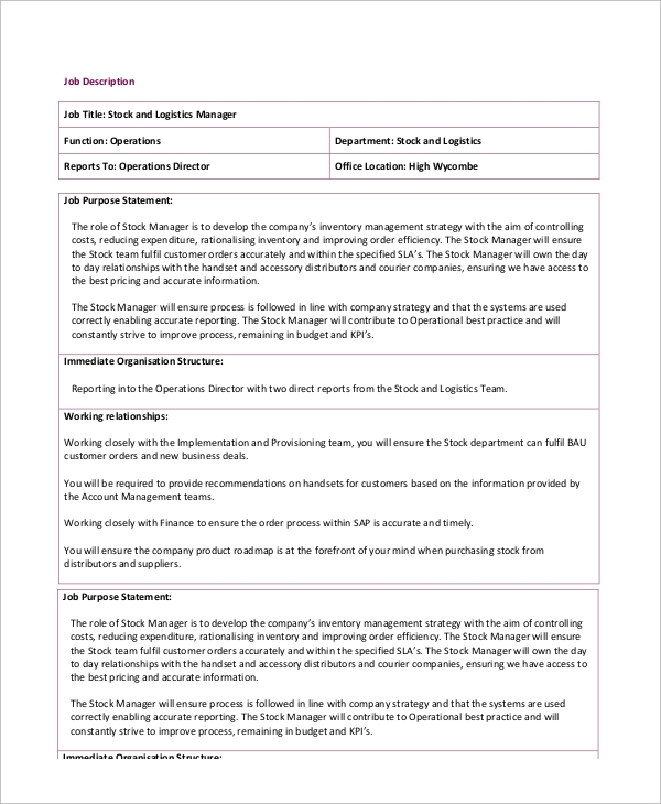 Sample Stocker Job Description   Examples In Pdf