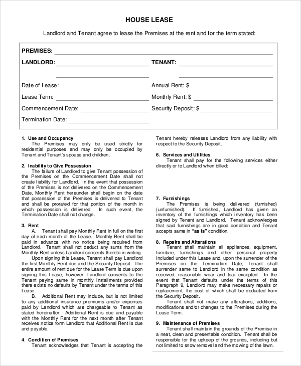 house rental lease agreement