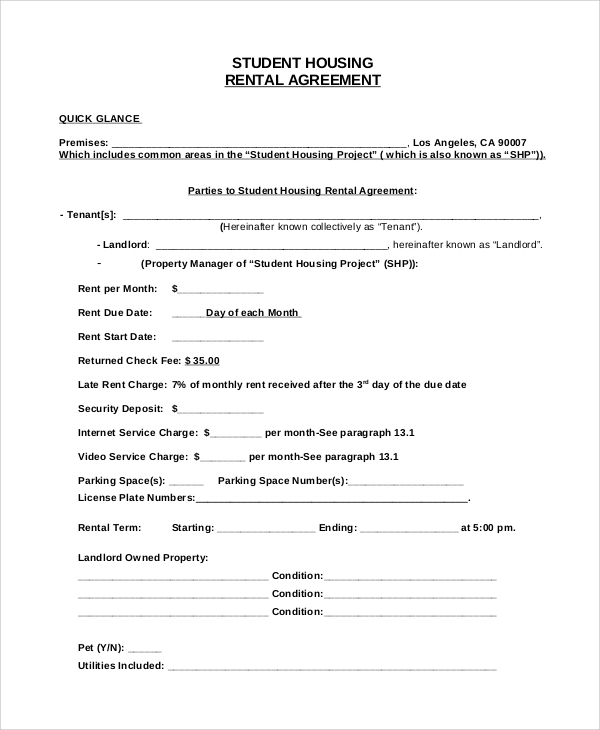 simple house rental agreement  u2013 free download