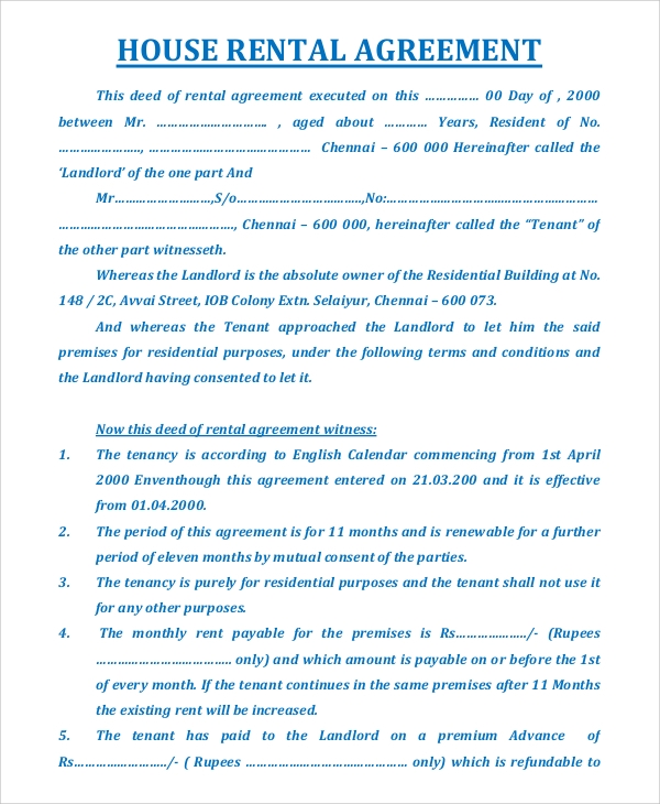 Sample House Rental Agreement   Examples In Pdf Word