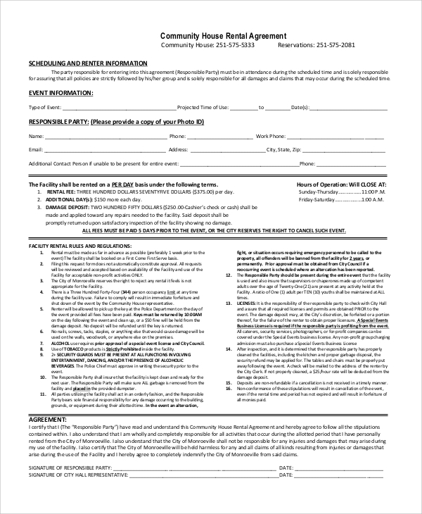 community house rental agreement