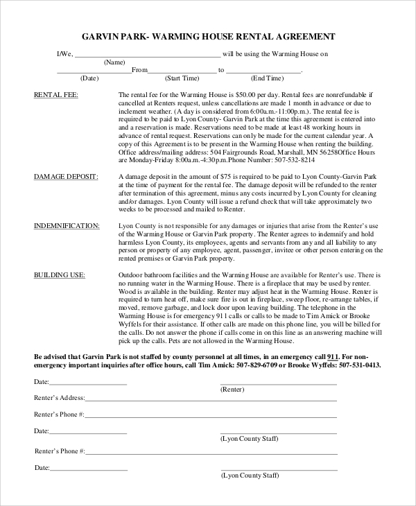 Sample House Rental Agreement 10 Examples in PDF Word