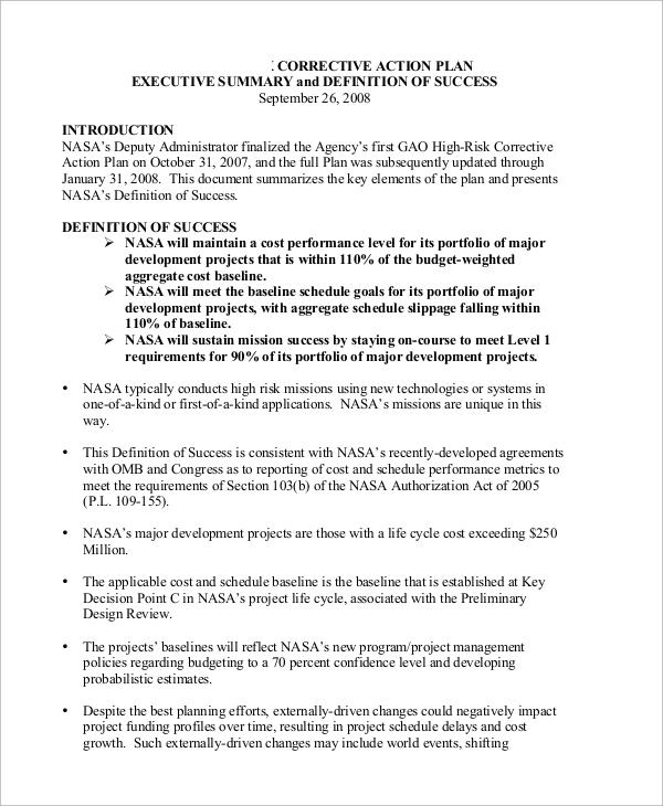 corrective action plan executive summary