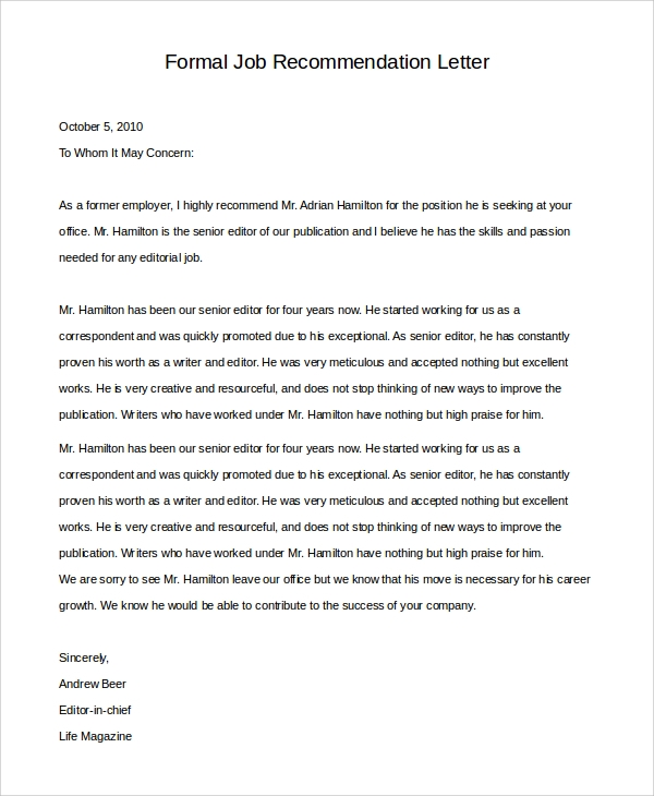 letter to former employer for rehire sample