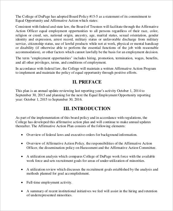 Sample Affirmative Action Plan   Examples In Word Pdf