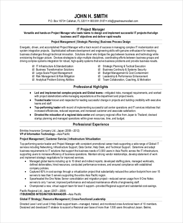 sample project management resume 8 examples in pdf word