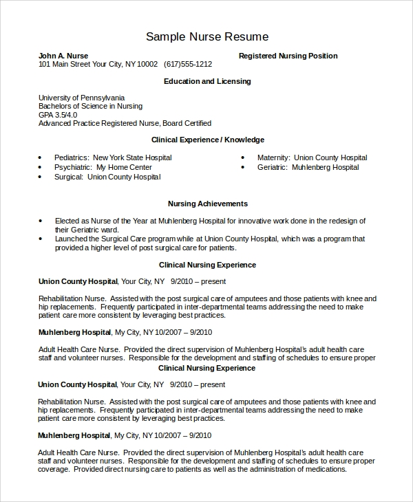 Sample Of Nursing Resume: 8+ Examples In PDF, Word