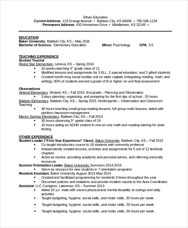 education resume samples