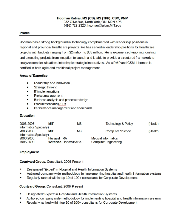 Sample Word Resume 8 Examples in PDF Word