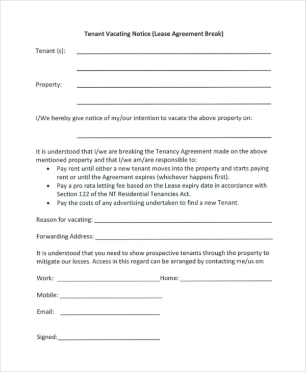 lease break letter lease agreement template ichwobbledich 13506 | Break Lease Agreement Form