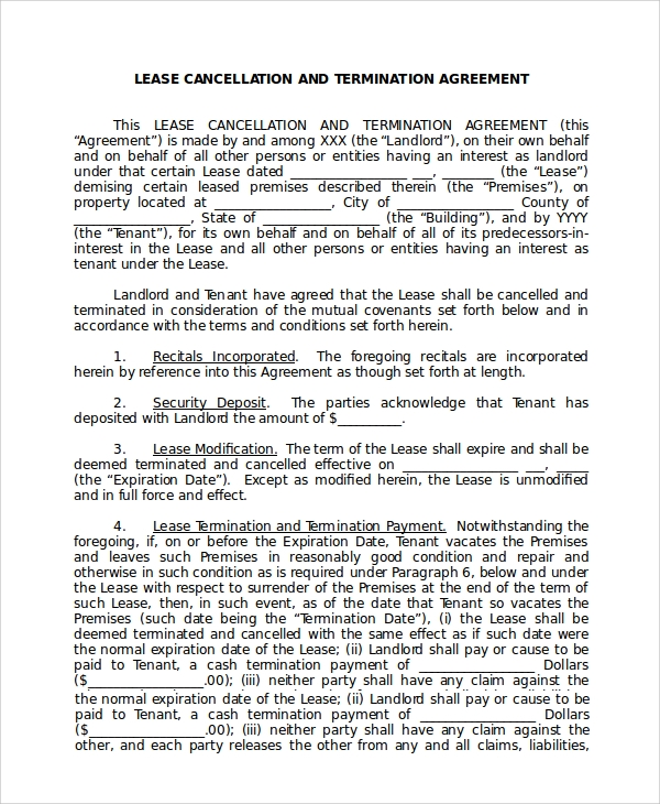 lease cancellation termination agreement