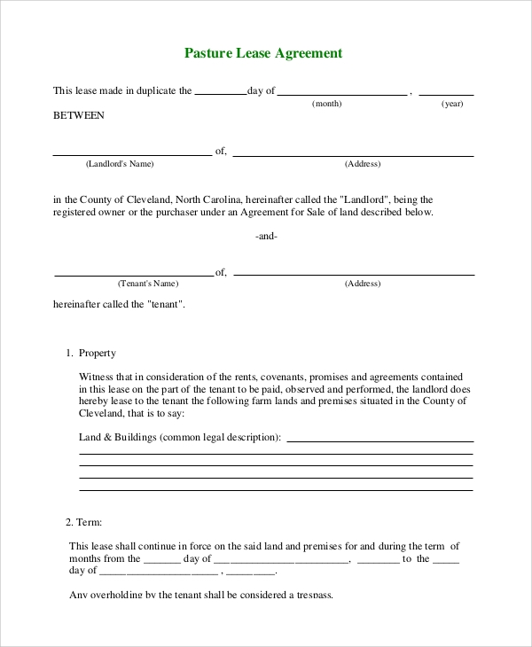 farm partnership agreement template - 9 samples of lease agreement sample templates