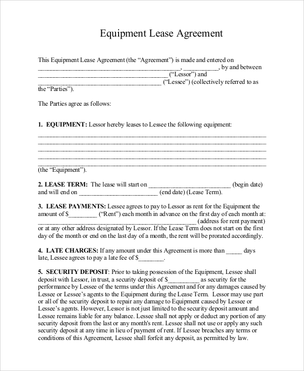 Samples of Lease Agreement 9 Examples in Word PDF – Equipment Rental Agreement Sample