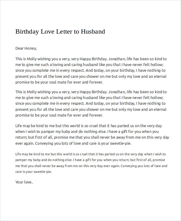 Sample Love Letters To My Husband   Examples In Word Pdf