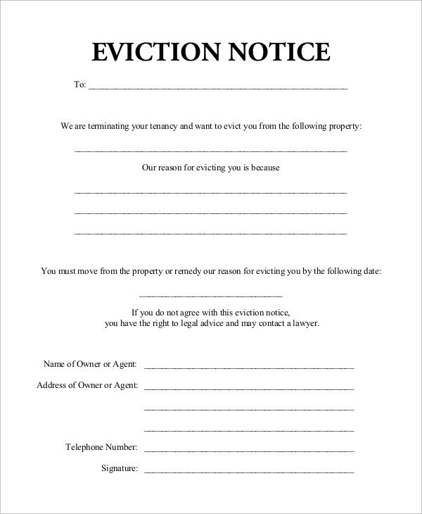 Sample eviction notice 7 examples in word pdf for Eviction notice letter pdf