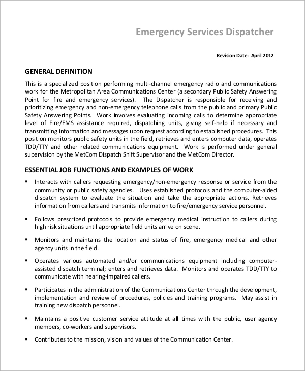 Dispatcher Job Description Classy Sample Dispatcher Job Description  10 Examples In Word Pdf